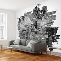Fotobehang - Black-and-white New York collage