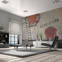 Fotobehang - De onzichtbare hand van de revolutie , rood wit