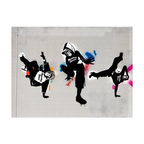 Fotobehang - Apen dans - street art