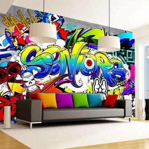 Fotobehang -  Taal van de straat , Graffiti