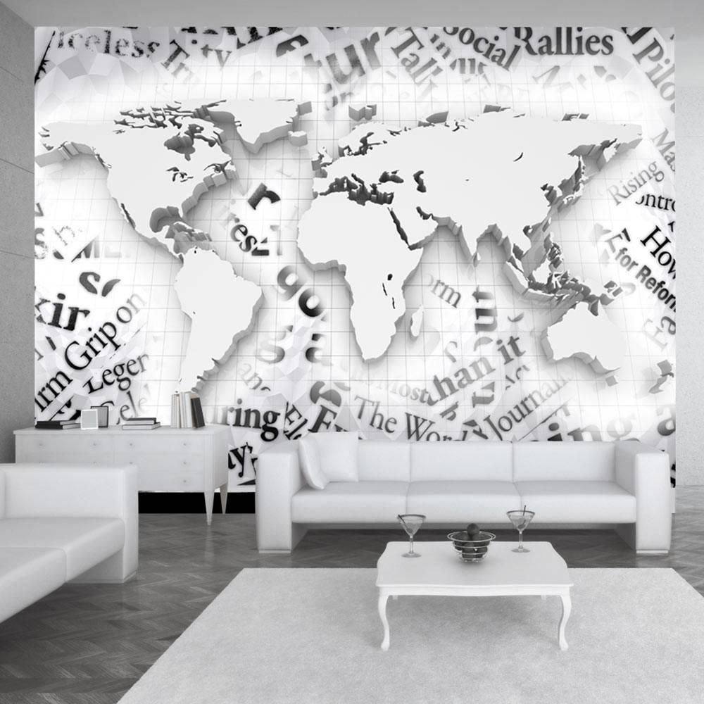 Fotobehang - De wereld van kranten, zwart en wit