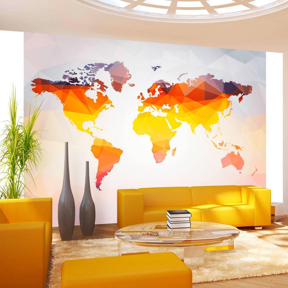 Fotobehang - Wereldkaart in oranjetinten