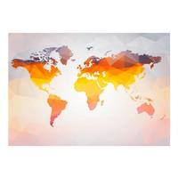 Fotobehang - Vliesbehang Wereldkaart in oranjetinten