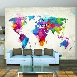 Fotobehang - Wereldkaart van geluk , kleur