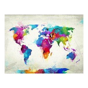 Fotobehang - Vliesbehang Wereldkaart van geluk , kleur