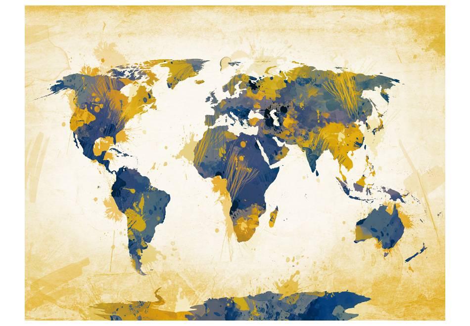 Fotobehang - Vliesbehang Wereldkaart , zon en lucht