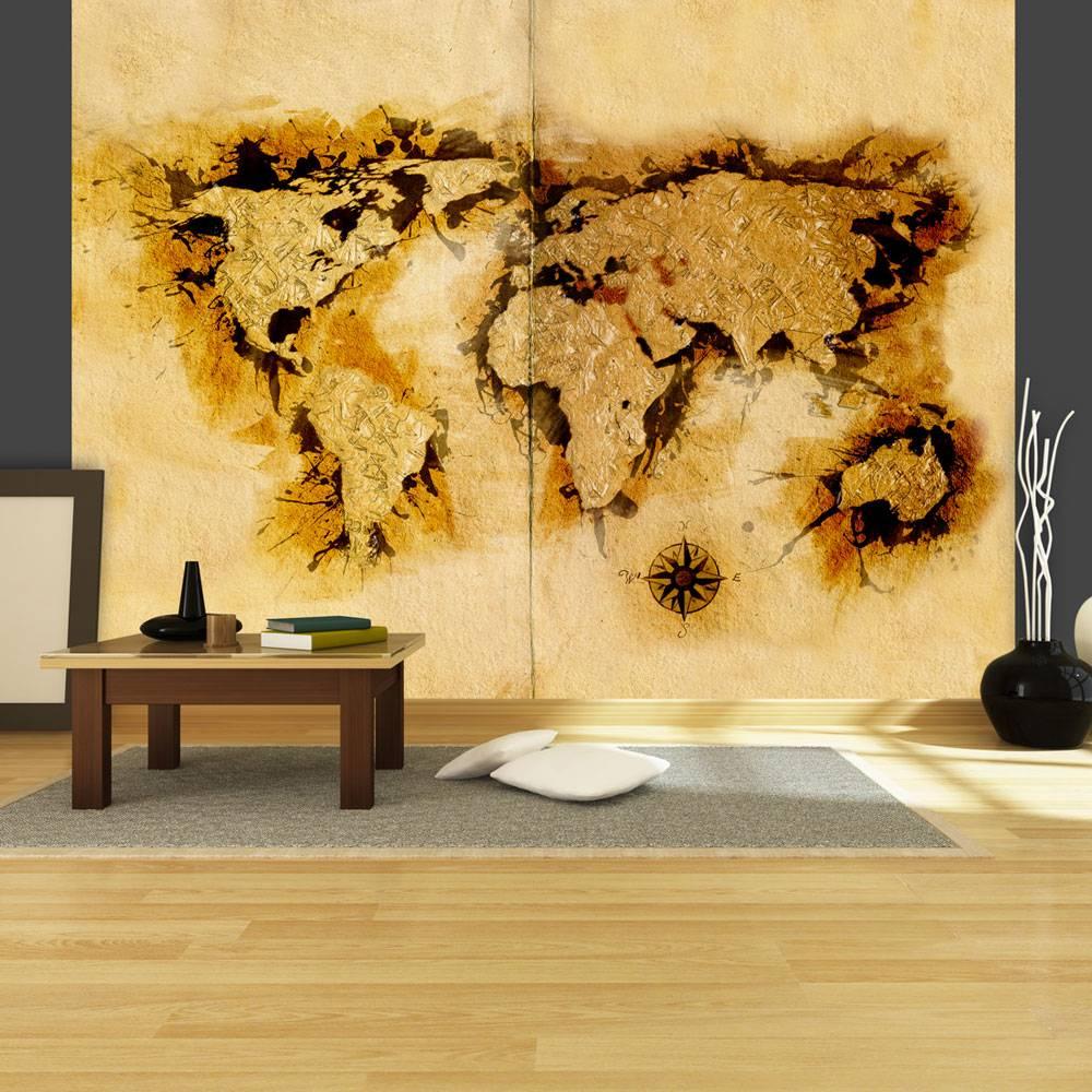 Fotobehang - Kaart van de wereld gold-diggers