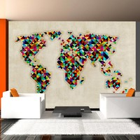 Fotobehang - World Map - a kaleidoscope of colors
