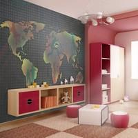 Fotobehang - landkaart (voor kinderen)
