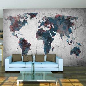Fotobehang - Wereldkaart op een muur