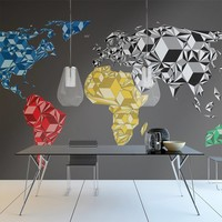 Fotobehang - Map of the World - colorful solids