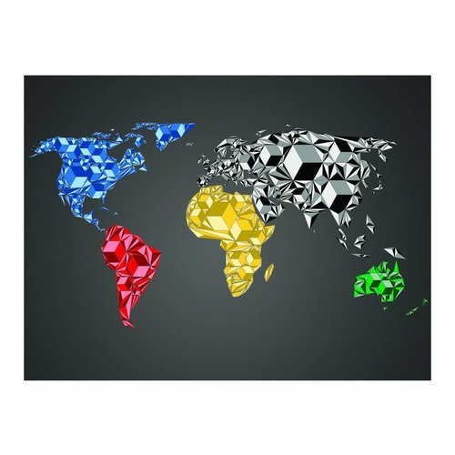 Fotobehang - Wereldkaart - Kleurrijke kubussen