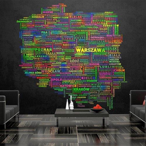 Fotobehang - De kaart van Polen