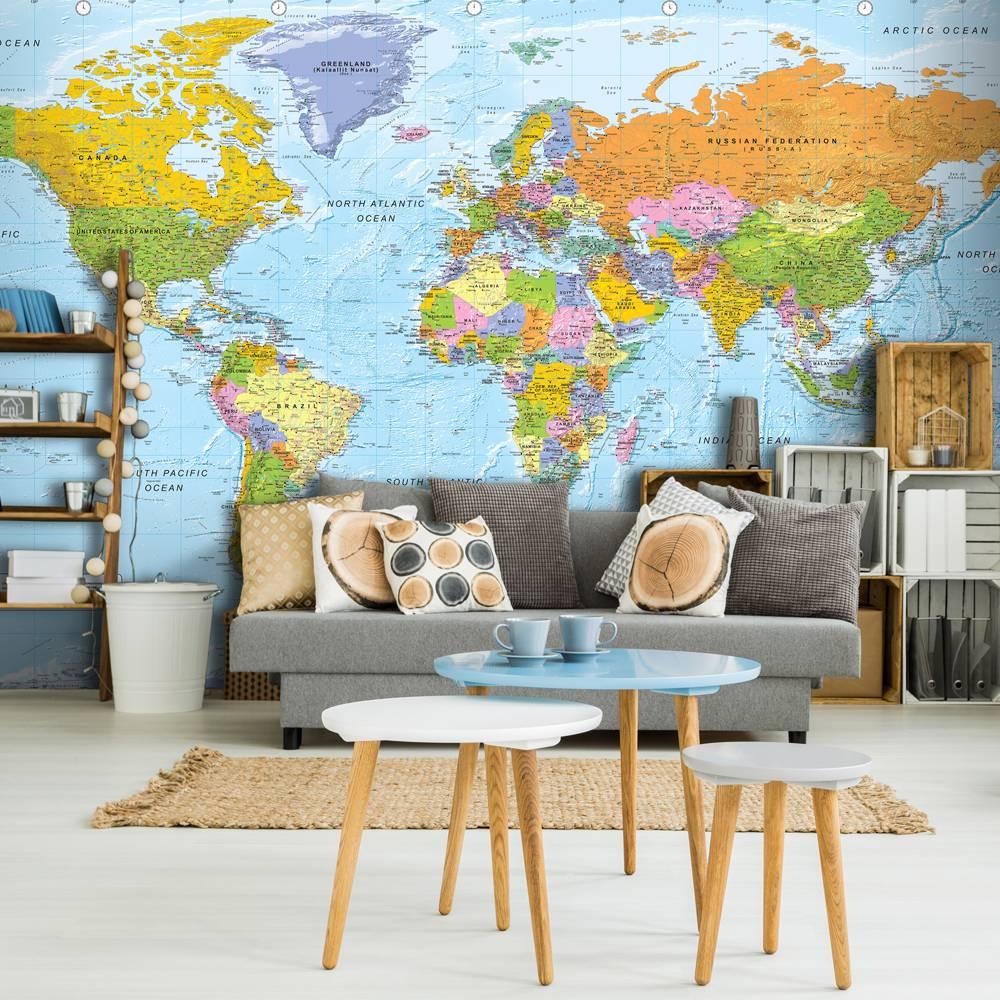 Fotobehang - Gedetailleerde wereldkaart , multi kleur