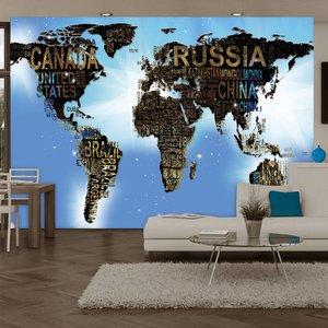 Fotobehang - Wereldkaart blauwe inspiratie