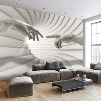 Fotobehang - Touch (Michelangelo) , grijs wit