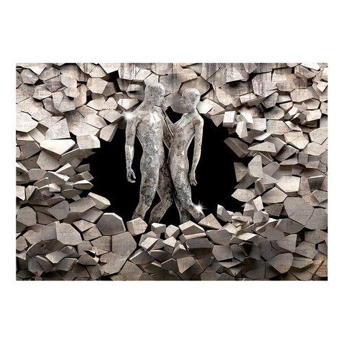 Fotobehang - Liefde uit steen , zwart wit