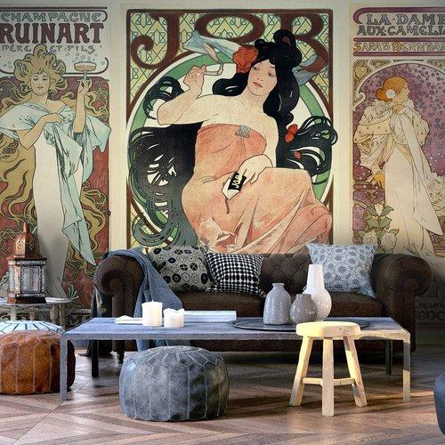 Fotobehang - Alphonse Mucha. Vrouwen , multi kleur