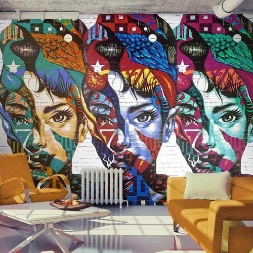 Fotobehang - Kleurige gezichten , multi kleur
