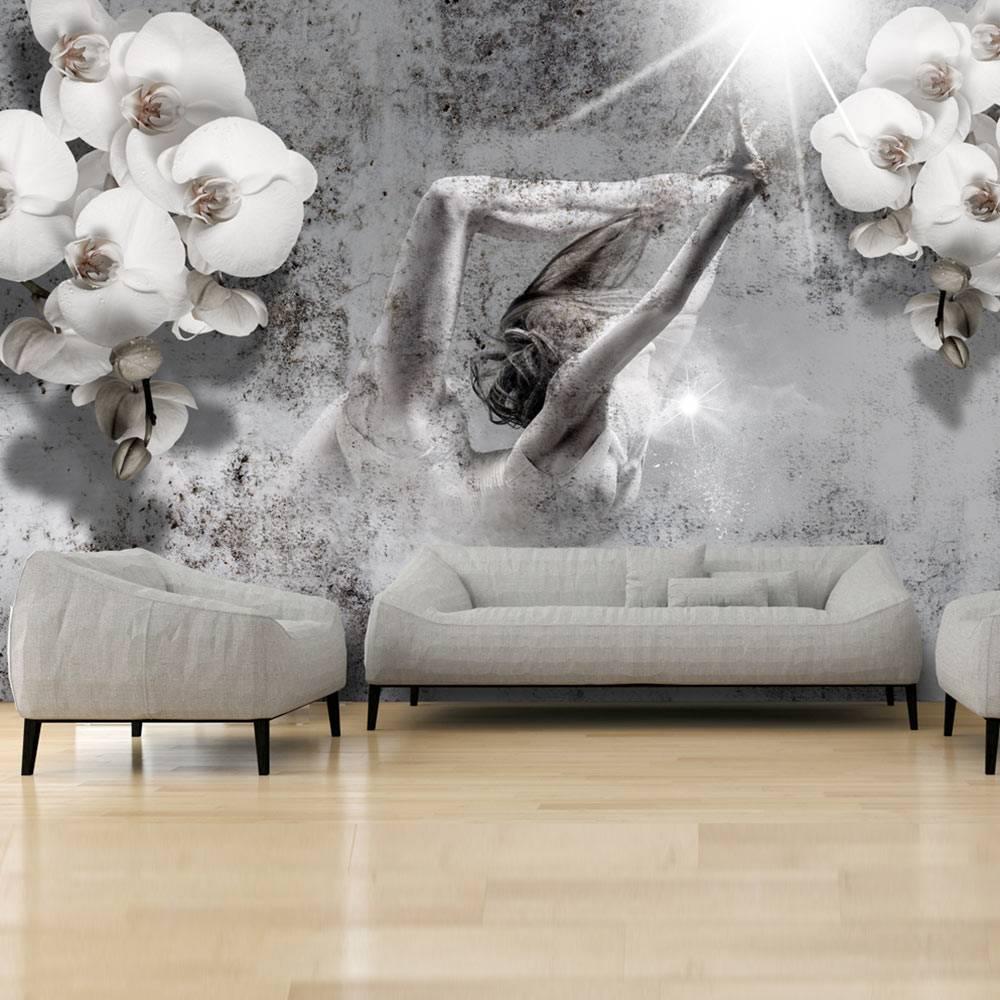 Fotobehang - Dansen met Orchideeen , wit grijs