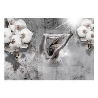 Fotobehang - Dansen met Orchideeën , wit grijs