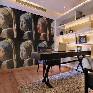 Fotobehang - Meisje met de parel, Vermeer (Pop-art) , multi kleur