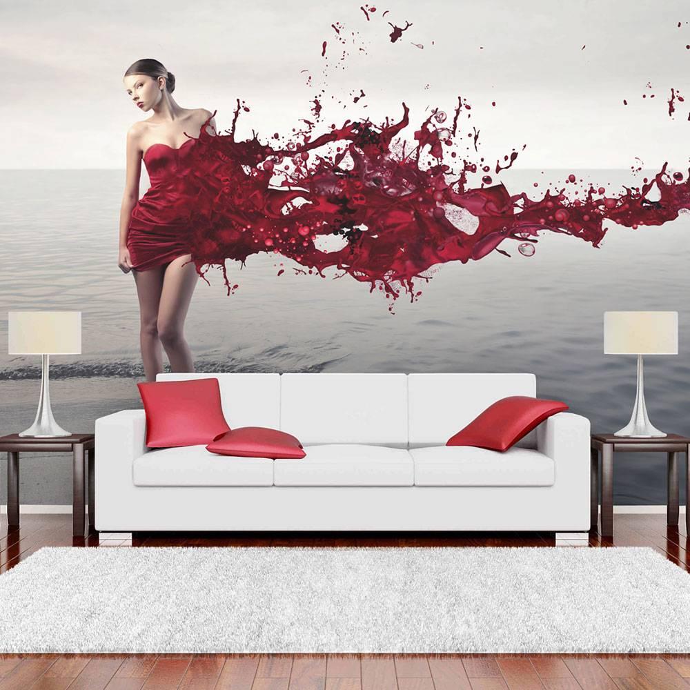 Fotobehang - Rode schoonheid , grijs rood