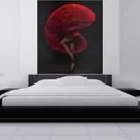 Fotobehang - Flamenco danseres , rood zwart