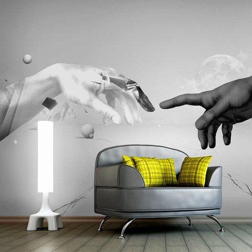Fotobehang - Intergalactische aanraking  (Michelangelo) , zwart wit