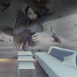 Fotobehang - Bedekt met veren , grijs zwart