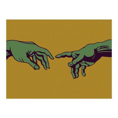 Fotobehang - Naar elkaar, popart in het groen, (Michelangelo) , oranje