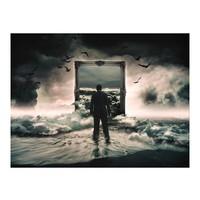 Fotobehang - Lopen op wolken , zwart beige