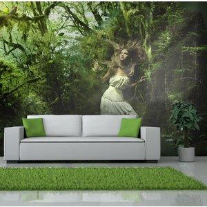 Fotobehang - Verloren in het bos , groen wit