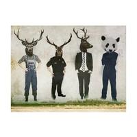 Fotobehang - Mens of dier , Banksy , zwart wit