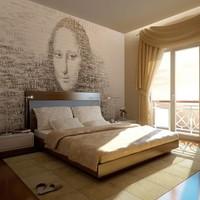 Fotobehang - Mona Lisa's gedachten , beige zwart , 5 maten