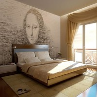 Fotobehang - Mona Lisa's gedachten , beige zwart