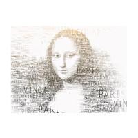 Fotobehang - Leonardo da Vinci's dagboek, Mona Lisa , beige zwart