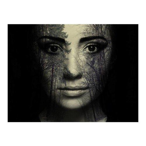 Fotobehang - Bos masker , zwart wit