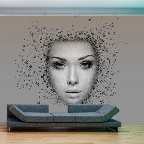 Fotobehang - Stroom van gedachten , grijs zwart