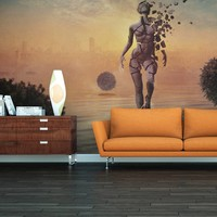Fotobehang - Lopen op het water , oranje bruin