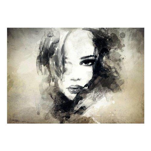 Fotobehang -  Mysterieuze vrouw , zwart wit