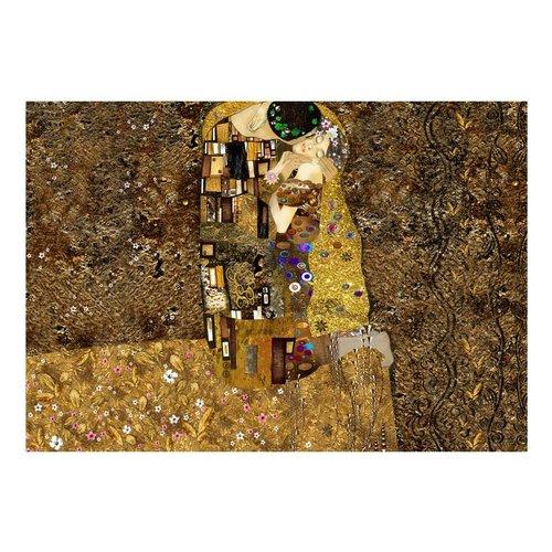 Fotobehang - Klimt inspiration: Gouden kus , goud look , bruin