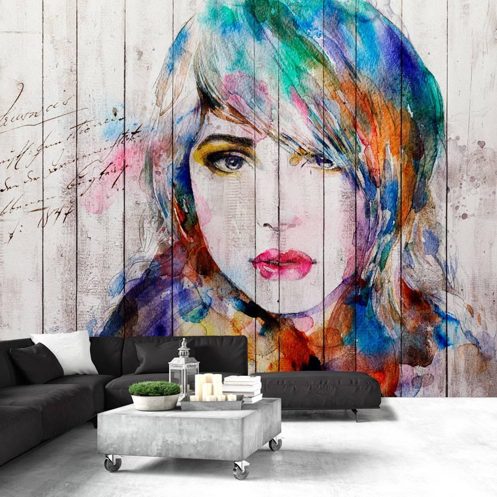 Fotobehang - Houten Vrouw , multi kleur