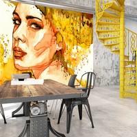Fotobehang - Amberkleurige Vrouw , beige oranje , 5 maten