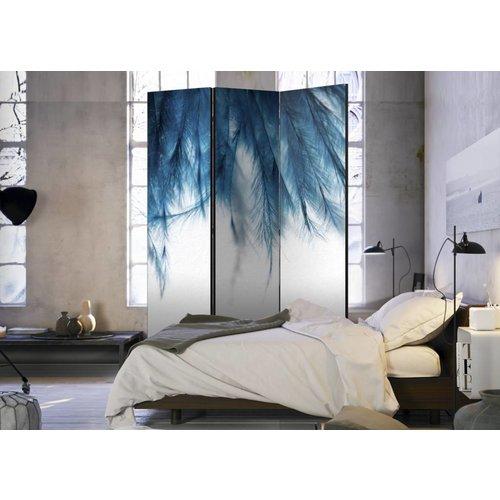 Vouwscherm - Blauwe veren  135x172cm