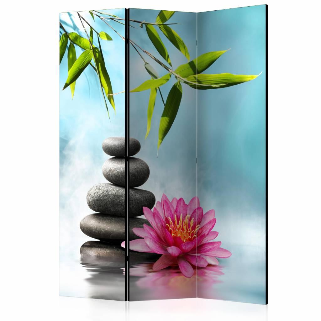 Vouwscherm - Water lelie en Zen stenen 135x172cm