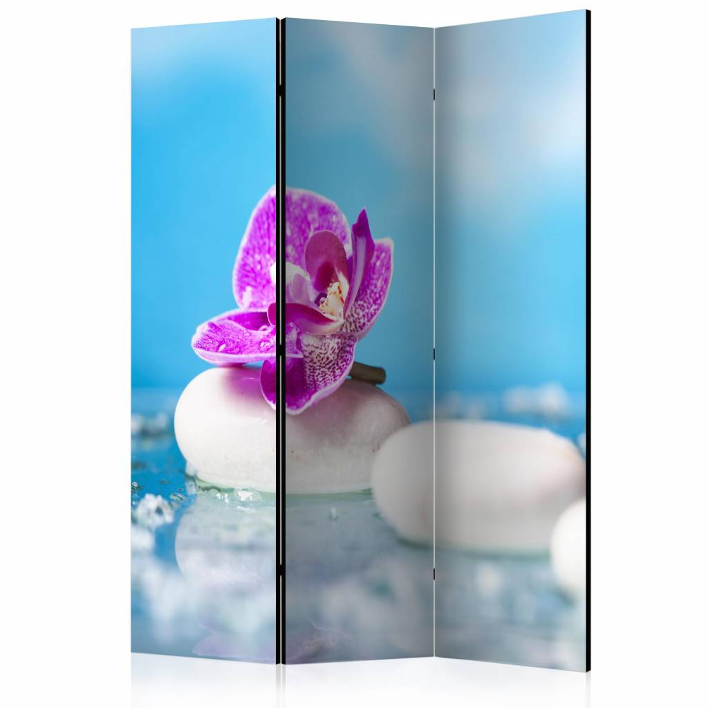Vouwscherm - Roze orchidee op zen stenen 135x172cm