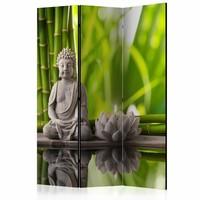 Vouwscherm - Boeddha, Meditatie  135x172cm gemonteerd geleverd, dubbelzijdig geprint (kamerscherm)