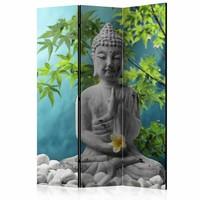 Vouwscherm - Mediterende Boeddha 135x172cm gemonteerd geleverd, dubbelzijdig geprint (kamerscherm)