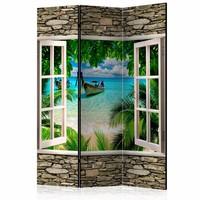Vouwscherm -  Tropisch strand 135x172cm gemonteerd geleverd (kamerscherm)